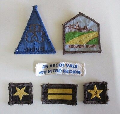 Six Brownie Guide Cloth Badges or Patches - Australia - 1970s