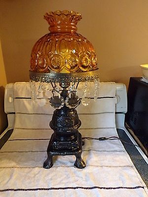 L.e. Smith Moon & Star Glass Amber Pot Belly Stove Table Lamp With Prisms Lqqk