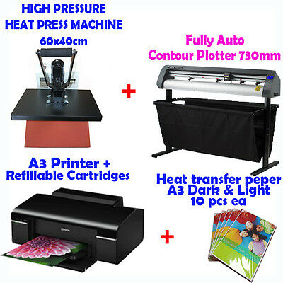 Fully Auto Contour Plotter 73cm + HEAT PRESS + Printer + T Shirt Transfer paper