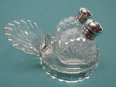 Antique Vintage Nesting Glass and Sterling Salt and Pepper Shakers - Set #1