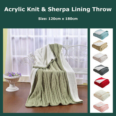Cable Knit Sherpa Throw Blanket Reversible Faux Sheepskin lambswool Lined