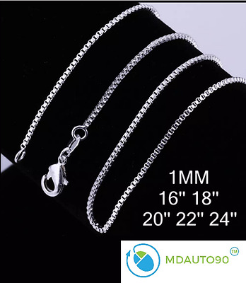 """New Sterling Silver Stamp 925 Box Chain 1mm Necklace 16"""" 18"""" 20"""" 22"""" 24"""""""
