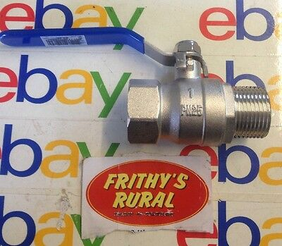 "BRASS BALL VALVE  25mm 1""  FI × MI FULL FLOW , STAINLESS STEEL HANDLE BBVMF25"