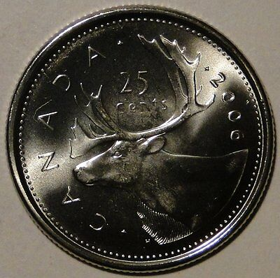 BU UNC Canada 2006 M mint logo quarter 25 cent 25c caribou coin from mint roll