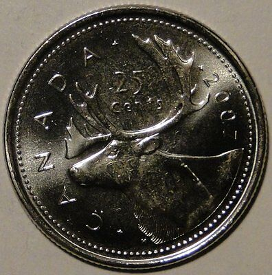 BU UNC Canada 2007 quarter 25 cent 25c regular caribou coin from mint roll