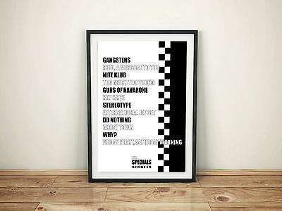 The Specials singles A4 Picture Poster Retro Vintage Print 2Tone Ska Rocksteady