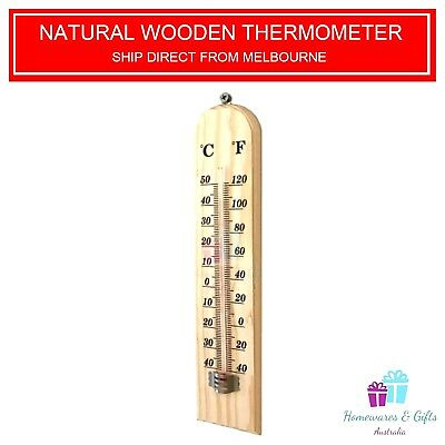 Indoor Outdoor 27cm By 6cm Large Wall Hanging Wooden Thermometer.