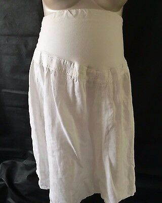 [8] H&M White Linen Skirt Size Medium (12-14)