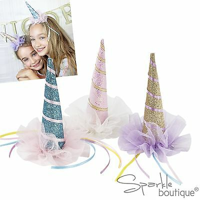 UNICORN HORN HATS - Sparkly Clip-On Birthday Party Fancy Dress Up Accessory