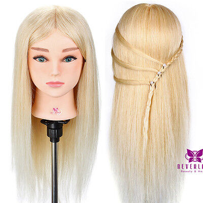 "Hairdressing Doll Training head 22"" 100% Remy Human hair Mannequin + Clamp AU"