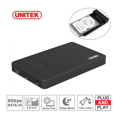 "UNITEK Tool-Free USB3.0 2.5"" HDD and SSD External Hard Drive Disk Enclosure Case"