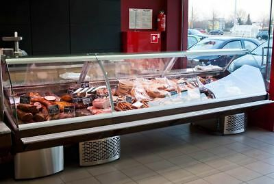 New Serve Over Counter 2.5M Chiller Meat Fish Fridge Deli Counter Wood Effect