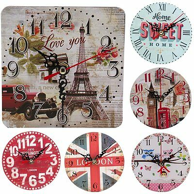 Vintage Decoration Home Kitchen Office Clock Round Square Silent Wood Wall CloBE