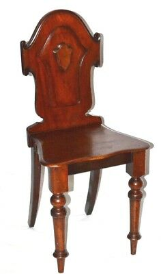 Victorian Mahogany Carved Crest Shield Back Hall Chair -FREE Shipping [PL3334]