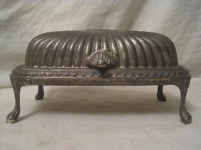 vintage roll top butter dish tray ornate silver-plated metal footed etch detail