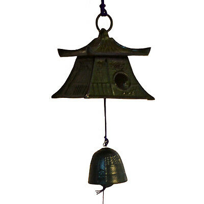 Nambu Cast Iron Green Tanzaku Bell with Lantern Square Type