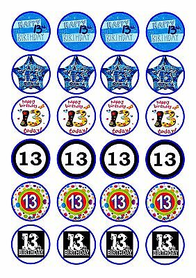 24 Boys 13Th Birthday Cupcake Wafer Rice Edible Fairy Cake Toppers