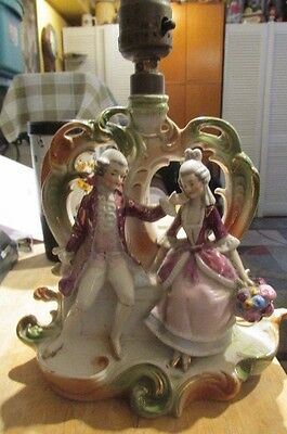Very Old Germany 16534 Figural Figurine Lamp Germany Porcelain Man Woman Couple