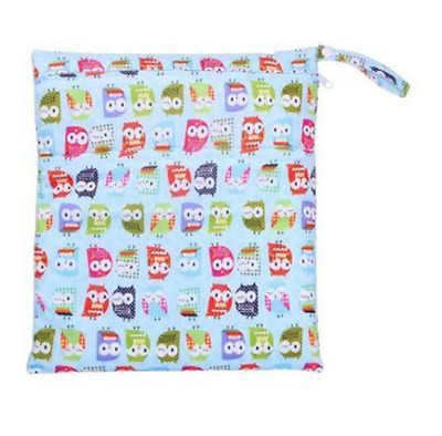 Baby Waterproof Washable Reusable Wet and Dry Cloth Diaper Bag Owl Print