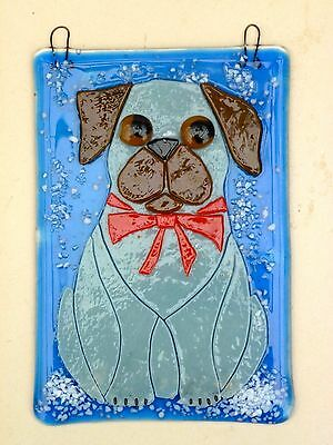 Original Fused Glass Art , Pug Dog In The Snow