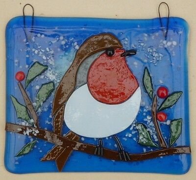 Original Fused Glass Art , Robin In The Snow
