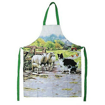Collie Dog and Sheep Cotton Apron Adult Size Cooking Baking Pinny by Macneil