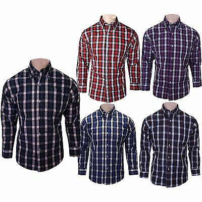 Mens Latest Fash Casual Cotton Shirts Long Sleeve Office Work Check Shirt