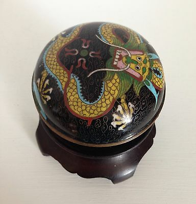 Antique Qing Chinese Cloisonne Dragon Box ~Flaming Pearl ~High Stand