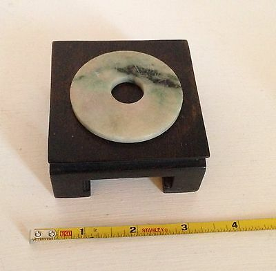 Qing ~TESTED Genuine JADE~ Antique Chinese Carved Green & White Bi Disc ~Stand