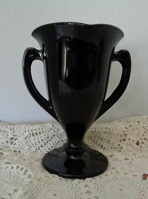 L.E. Smith Black Amethyst Glass Loving Cup Trophy Vase 1930s