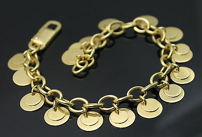 "Chini Italy Superb Solid 18K 750 Yellow Gold Gypsy Style Dangle 7.75"" Bracelet"
