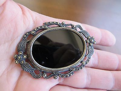 Antique Victorian 1900's Silver Large Pin Brooch Pendant  Onyx Marcasite Stones
