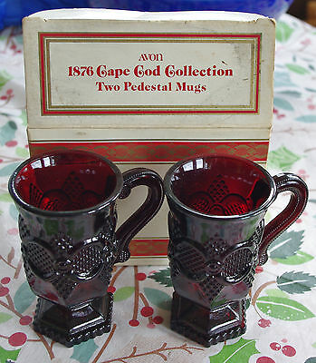 Avon 1876 Ruby red Cape Cod Collection, Two Pedestal Mugs; 1 set / 2 glasses