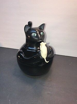 Vintage Black Cat Tea Kettle Metal Enamel White Mouse