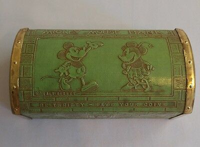 DISNEY c.1933 Mickey Mouse Treasure Chest Coin Bank by Zell Products - RARE