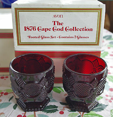 Avon 1876 Ruby red Cape Cod Collection, Footed Glass Set; in Org. Box