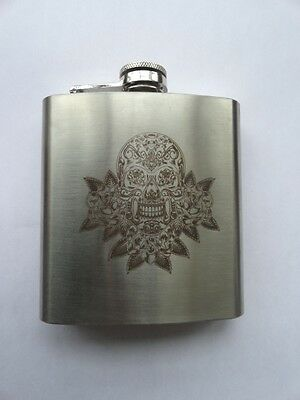 6 oz  Stainless Steel Hip Whiskey Drinking Flask Liquor Laser Etched suga skull