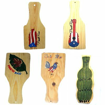 Puerto Rico Flag Map Rooster Wood Tostonera Tostone
