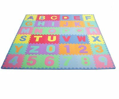 36Sq Ft Alphabet and Number Floor Mat Foam Puzzle Play Kids Educational Soft