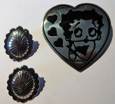 Sterling Silver Lot 925 Betty Boop Large Heart & Navajo Ovel Concho Earring N/r
