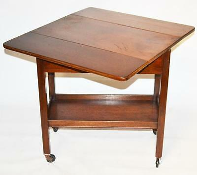 Vintage Mahogany Drop Leaf Serving Tea Trolley Occasional Table [PL3343]
