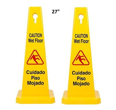 "2pcs of  27"" Caution Wet Floor Cone Sign - Shaped Sign"