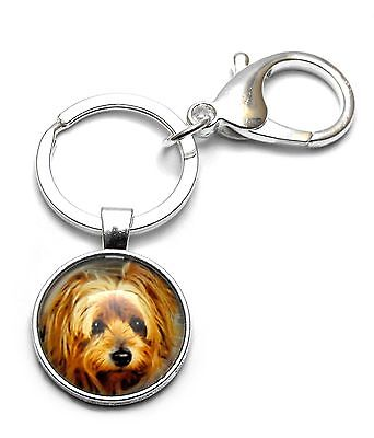 Darling Yorkshire Terrier Yorkie Dog Cabochon Key Ring Chain Lobster Clip Clasp