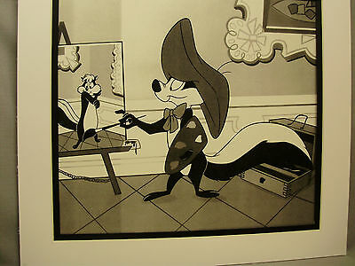 Pepe Le Pew is artist paints his lovee  Penelope  Looney Tunes artist display
