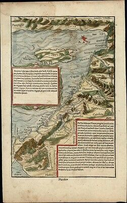 Holy Land coastline Galilee Phoenicia Cyprus c.1552 Munster old color rare map