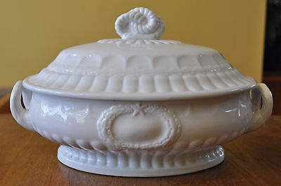 Antique White Ironstone Covered Vegetable Bowl Elmore Forster Laurel Wreath