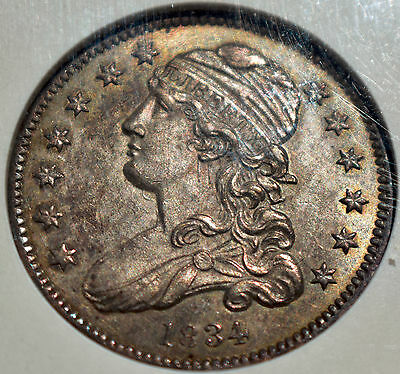 1834 Capped Bust 25C B-3 ANACS AU58 (Details) Silver Quarter a Scarce Variety