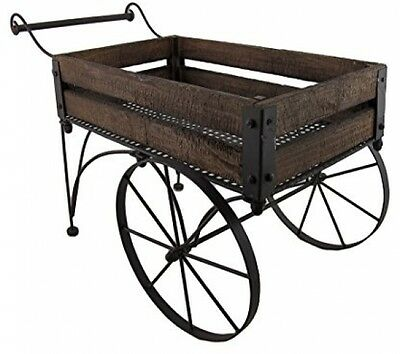 Wood Wagon Wheel Planter Bed Garden Flower Pot Cart Rustic Outdoor Decor Planter