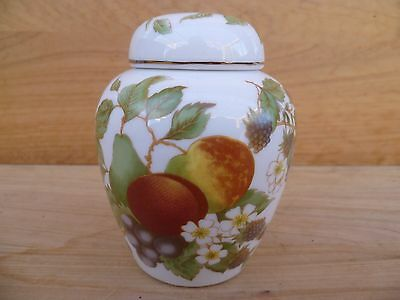 Vintage Old 'fruit Scene' Ginger Jar, Canister (A828)
