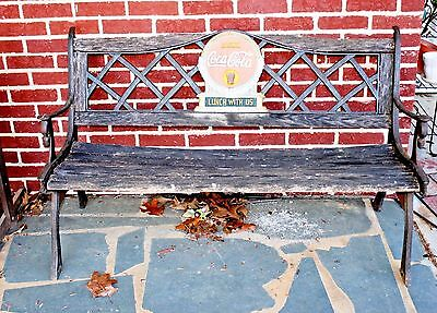 Cast Iron Wood Coca Cola Lunch Here Park Lunch Counter Bench Art Deco Rare